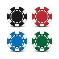 Fichas de pôquer de cassino 3D isoladas no fundo branco, ilustração vetorial vetor