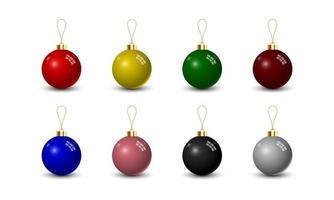 conjunto de bola de natal isolado no fundo branco, ilustração vetorial vetor