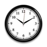 relógio de parede isolado no fundo branco, ilustração vetorial realista vetor