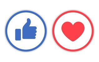 ícone de gosto e amor com vetor de linha de círculo