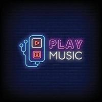 reproduzir música logo sinais de néon estilo texto vetor