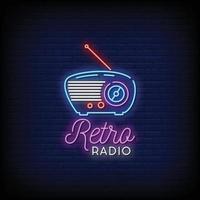 retro rádio logo sinais de néon estilo texto vetor