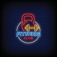logotipo do clube de fitness sinais de néon estilo texto vetor