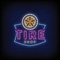 logotipo da loja de pneus sinais de néon estilo texto vetor
