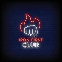 ferro primeiro clube logo sinais de néon estilo texto vetor