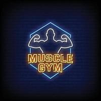 muscle gym design sinais de néon estilo texto vetor