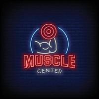 muscle center design sinais de néon estilo texto vetor