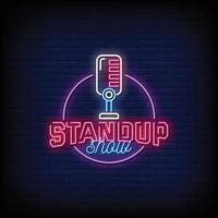 standup show design sinais de néon estilo texto vetor