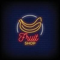 projeto da loja de frutas vetor de texto estilo sinais de néon