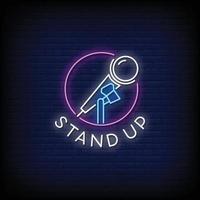 stand up design sinais de néon estilo texto vetor