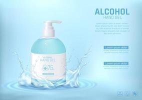 desinfetante para as mãos com álcool e respingos de água vetor