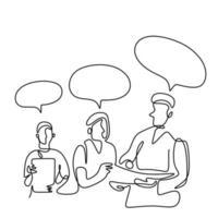 desenho contínuo de uma linha dos médicos da equipe. três médicos profissionais discutindo sobre o paciente diagnóstico. conceito de trabalho em equipe de saúde médica. ilustração vetorial isolada no fundo branco