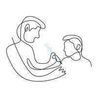 um desenho de linha contínua de um jovem médico dando injeção de vacina no hospital a um paciente do sexo masculino para proteger contra covid-19. prevenir o conceito de doença. desenho minimalista desenhado à mão para médico vetor