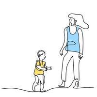 um único desenho de linha de jovem mãe feliz segurando seu filho. uma mãe brincando com seu filho em casa, isolado no fundo branco. conceito de paternidade familiar. ilustração vetorial