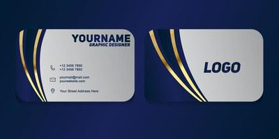 luxo e moderno. modelo de cartão de visita de vetor. design de cor azul escuro e dourado vetor