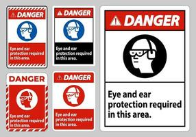 sinal de perigo proteção ocular e auditiva necessária nesta área vetor