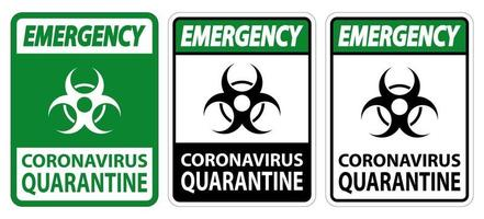 sinal de quarentena de coronavírus de emergência isolado em fundo branco, ilustração vetorial eps.10 vetor