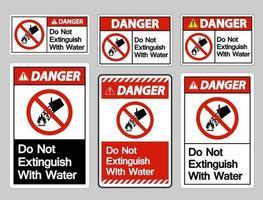 o perigo não se extingue com o sinal do símbolo de água no fundo branco vetor