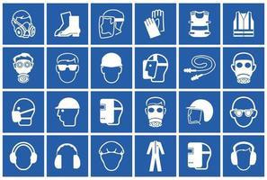 símbolo de equipamento de proteção individual necessário, ícone de segurança vetor