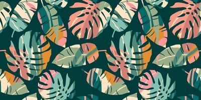 padrão sem emenda tropical com folhas abstratas. design moderno vetor