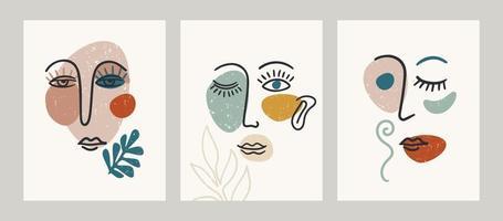 retrato contemporâneo. ilustrações vetoriais com pintura de rosto elegante. vetor