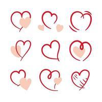 mão desenhada coração conjunto vetor