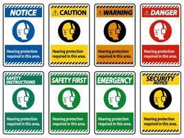 proteção auditiva necessária nesta área com o símbolo vetor