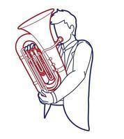 vetor gráfico de instrumento de orquestra de músico de tuba