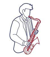 saxofone músico orquestra instrumento gráfico vetorial