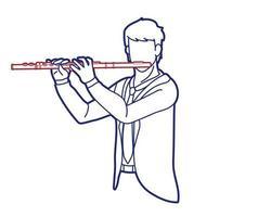 flauta músico orquestra instrumento gráfico vetorial