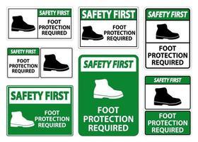 proteção do primeiro pé de segurança necessária sinal de símbolo de parede isolado em fundo transparente, ilustração vetorial vetor