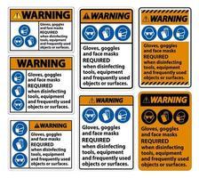 Luvas de advertência, óculos e máscaras faciais exigem sinal no fundo branco, ilustração vetorial eps.10 vetor
