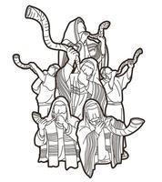 grupo de pessoas tocando shofar vetor