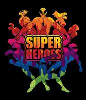 grupo de ação de super-heróis com super-heróis de texto