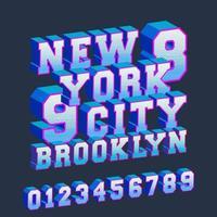 tipografia de design 3d de new york brooklyn com números para carimbo de impressão de camisetas, apliques de camisetas, crachá de camisetas, etiqueta, etiqueta de roupas, jeans ou outros produtos de impressão. ilustração vetorial vetor