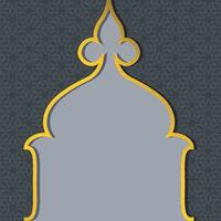 Ramadan Kareem islâmico cartão de fundo azul e amarelo banner com mesquita emoldurado vetor