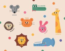 conjunto de ícones de rosto de animal fofo vetor