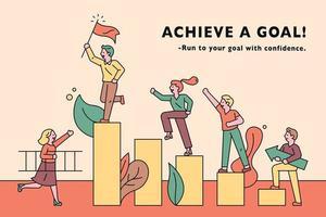 empresários no pódio alcançando uma meta
