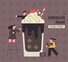 ilustração do cartaz da bebida do shake de chocolate. vetor