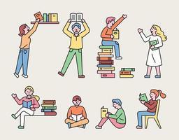 conjunto de pessoas lendo livros vetor