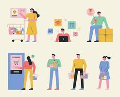 tecnologia digital e compras com pessoas comprando vetor
