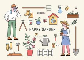 personagens de homem e mulher jardinando com ferramentas