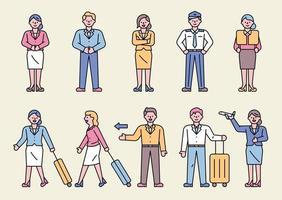 uma coleção de personagens comissários de bordo fazendo vários gestos. vetor