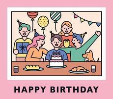 fofo feliz aniversário com pessoas festejando