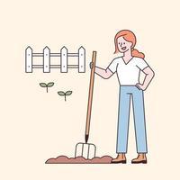 mulher agricultora trabalhando na terra com equipamentos agrícolas. vetor