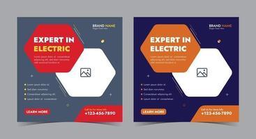 especialista em pôster elétrico, postagem de eletricista em mídia social e folheto vetor