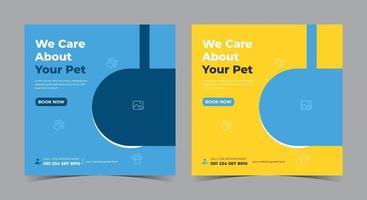 nos preocupamos com o pôster do seu animal de estimação, postagem na mídia social sobre cuidados com animais de estimação e folheto vetor