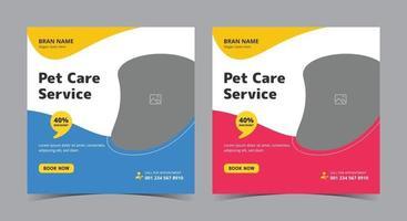 pôster de serviço de pet care, postagem de mídia social de pet care e folheto vetor