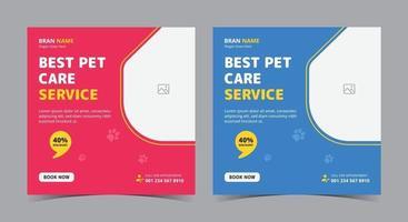 melhor pôster de serviço de pet care, postagem de mídia social de pet care e folheto vetor