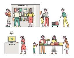 conjunto de pessoas em uma livraria vetor